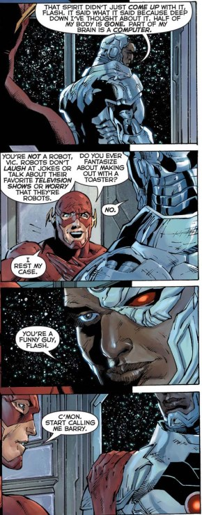 flash convinces cyborg he's still human