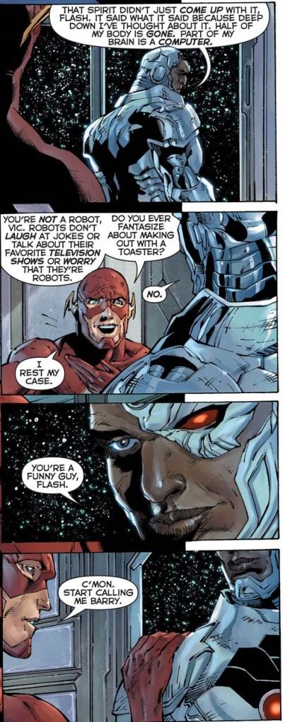 flash convinces cyborg he's still human