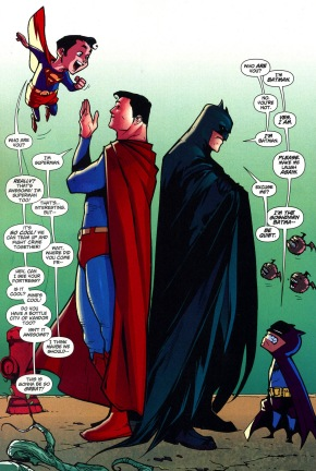 Superman and Batman Meet Their Kid Versions