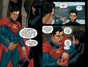 Superman and Batman Debating About Killing Criminals