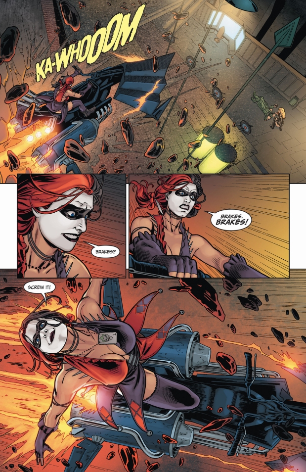 harley quinn crashes into the arrow cave