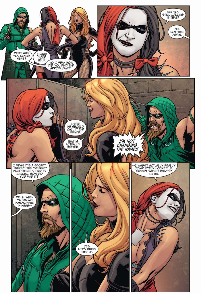 harley quinn in the arrow cave