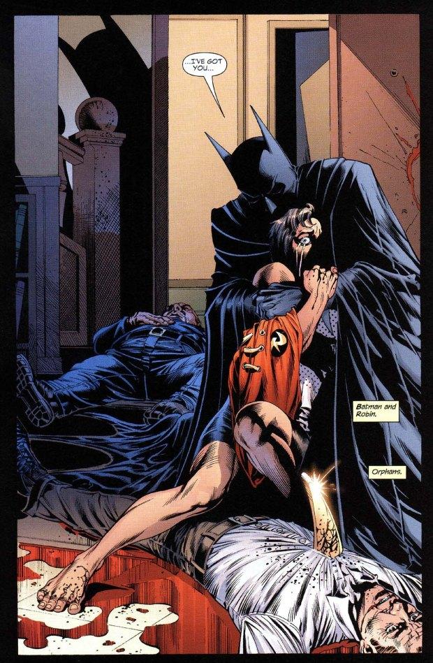 Batman hugs robin