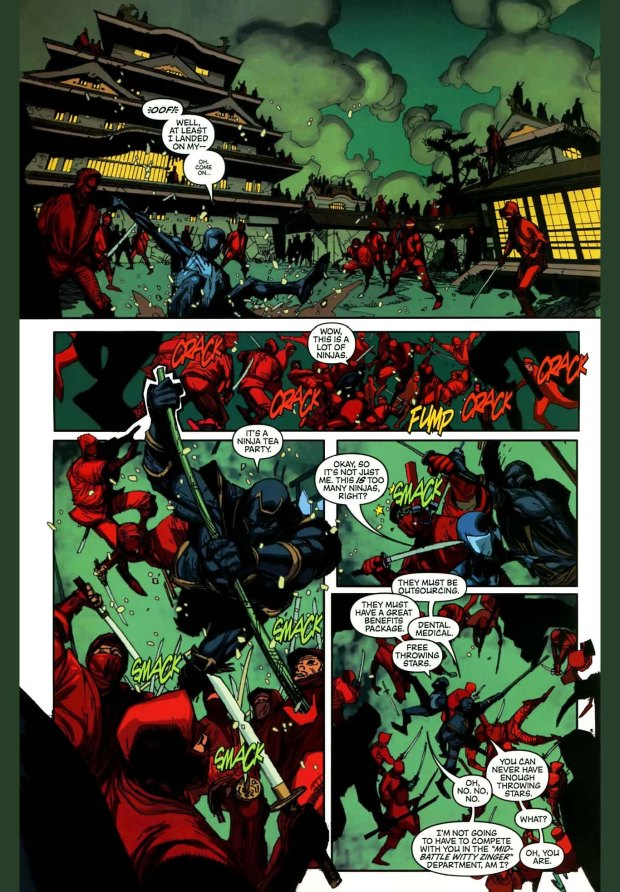 spiderman banters with ronin
