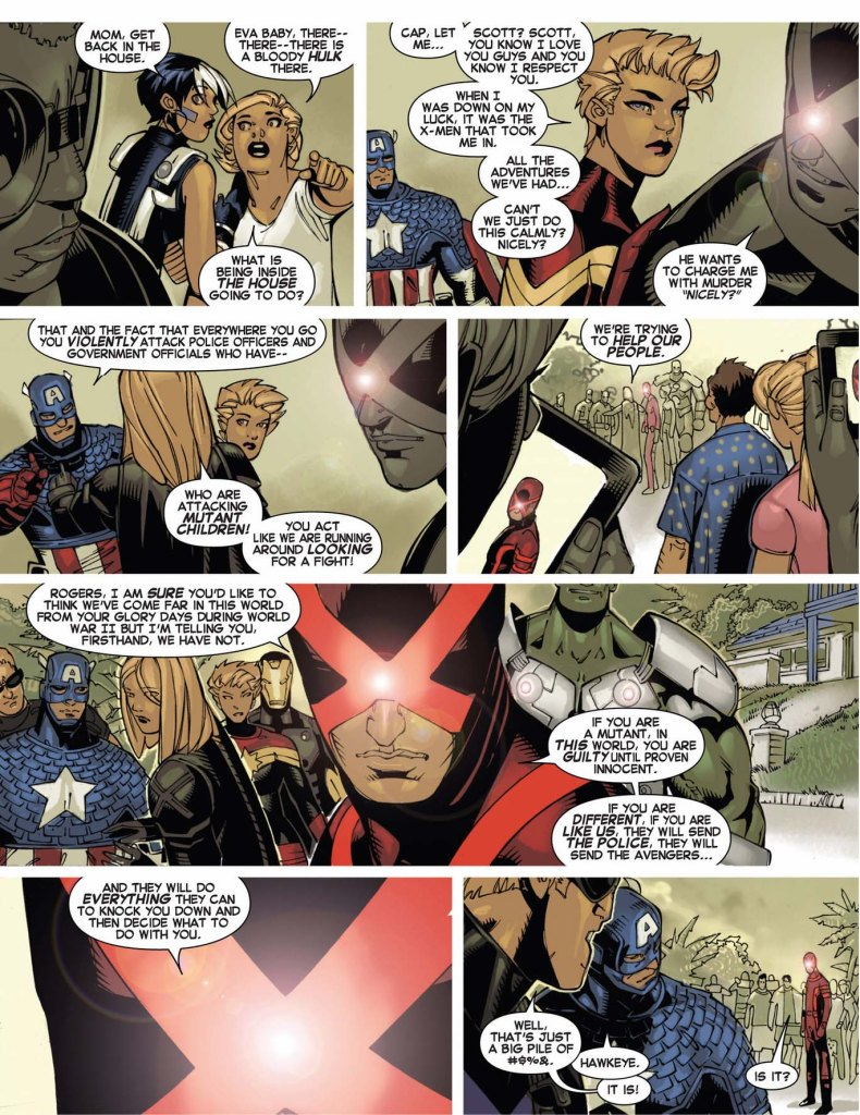 cyclops educating captain america on mutant rights