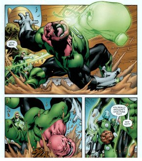 hal jordan punches kilowog with giant glove