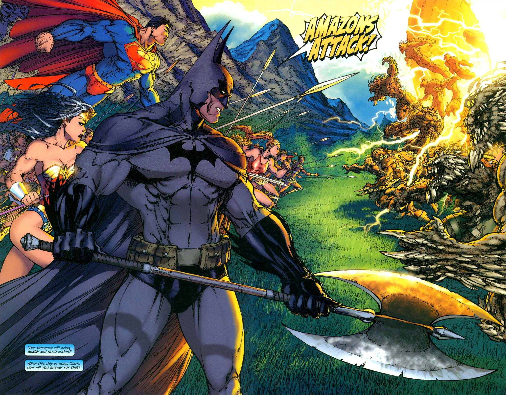 Superman, Batman, Wonder Woman And Amazons Vs Army Of -7773
