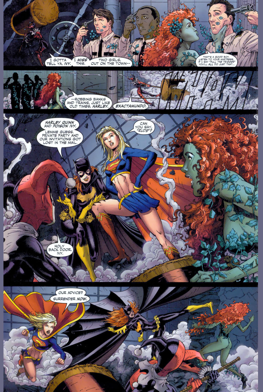 Supergirl And Batgirl Vs Harley Quinn And Poison Ivy Comicnewbies