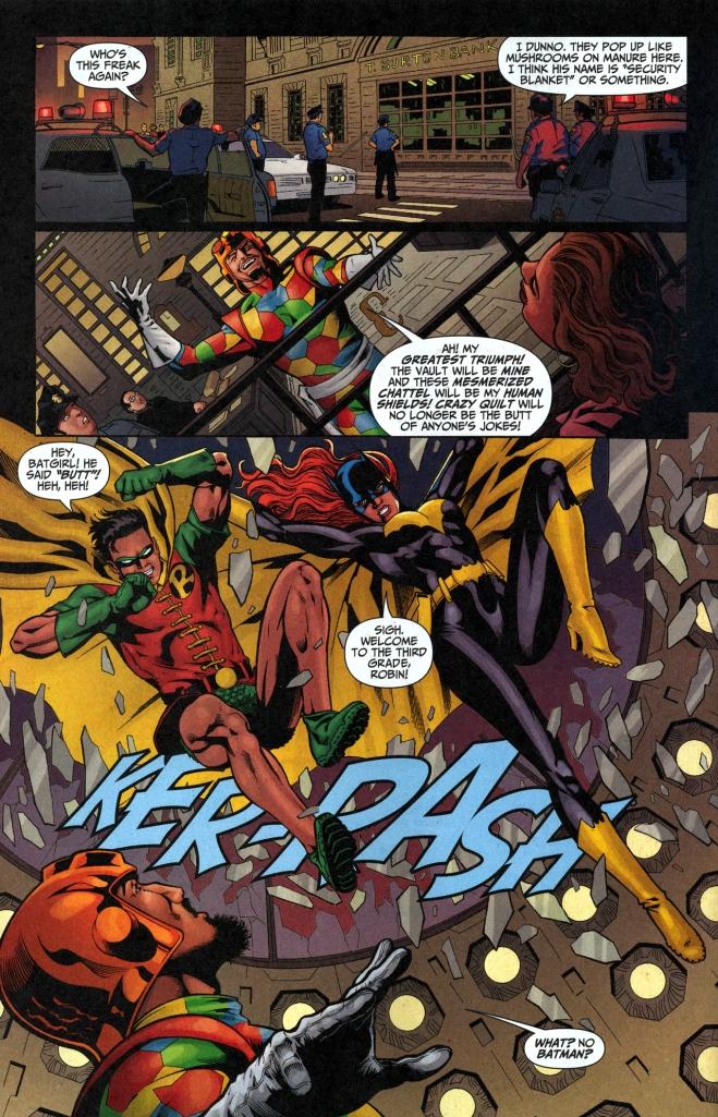 robin and batgirl vs crazy quilt 1