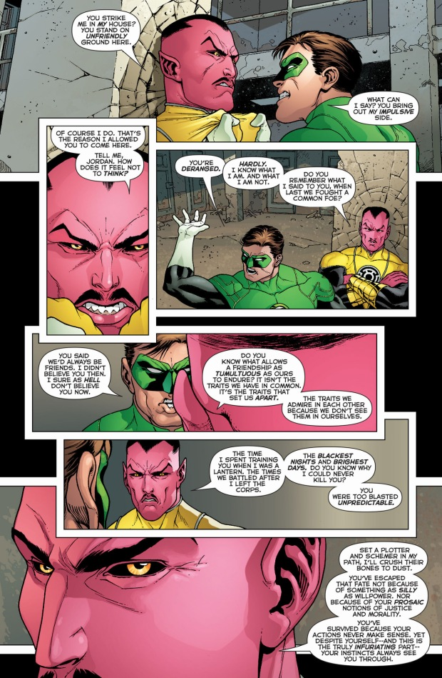 Sinestro reminds Hal Jordan what he's good at