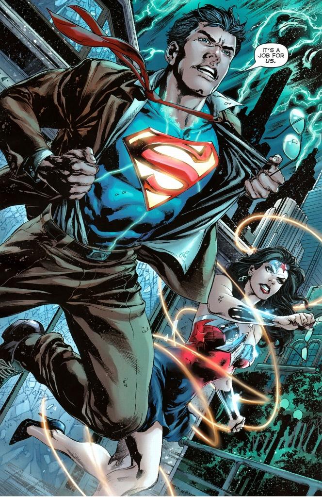 superman and wonder woman lifts an aircraft carrier
