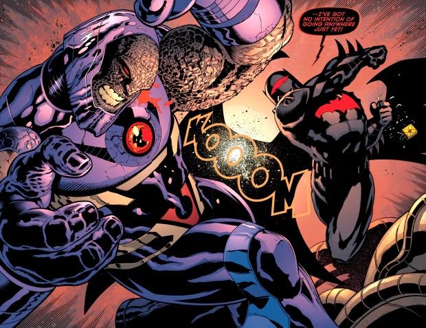 batman in hellbat armor bitchslaps darkseid
