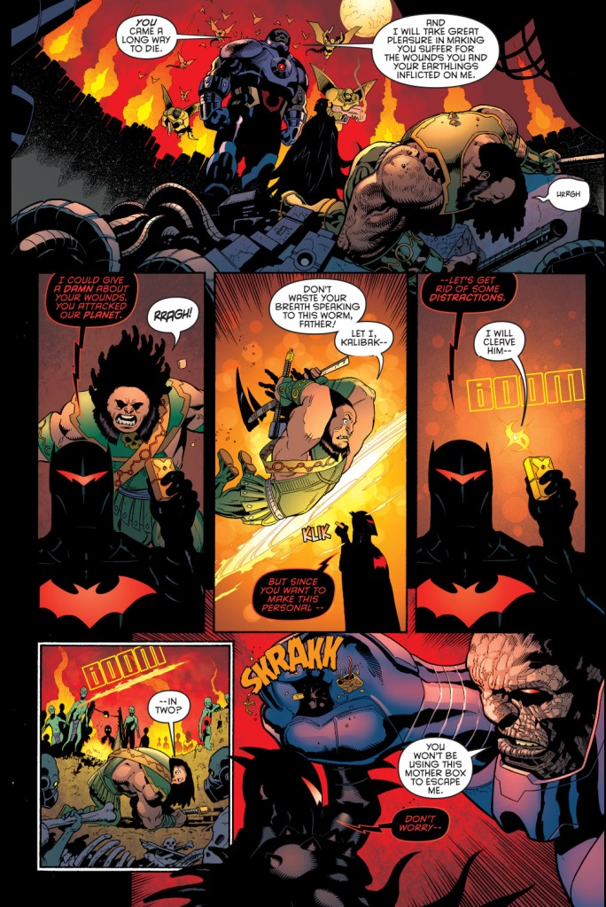 batman in hellbat armor faces off with darkseid
