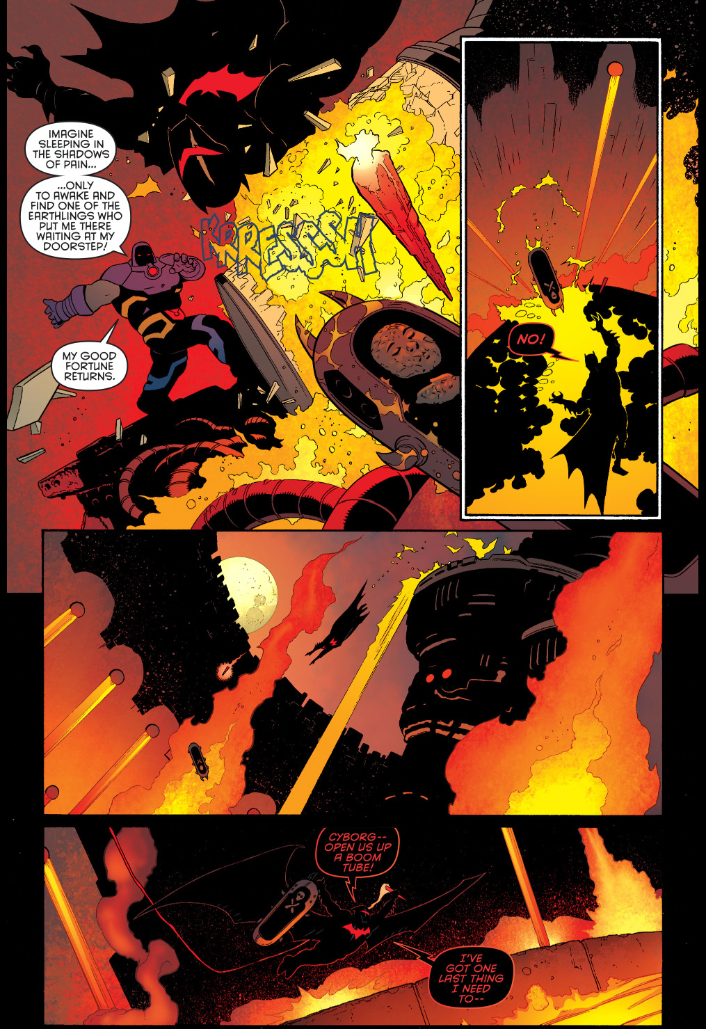 Batman in hellbat armor vs darkseid comicnewbies
