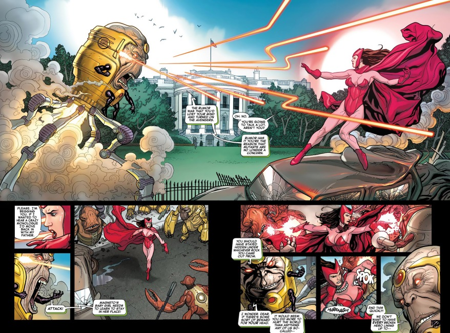 scarlett witch, spider-woman and Miss Marvel VS modok