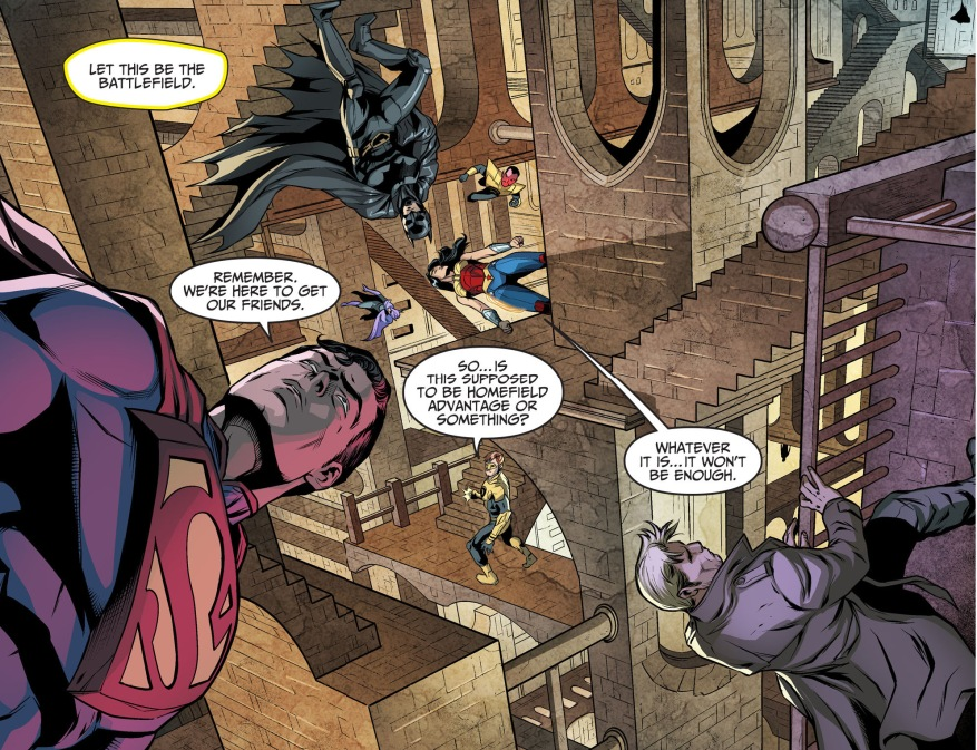 superman's team attacks the tower of fate