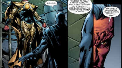 sinestro teaches batman how to use a yellow ring