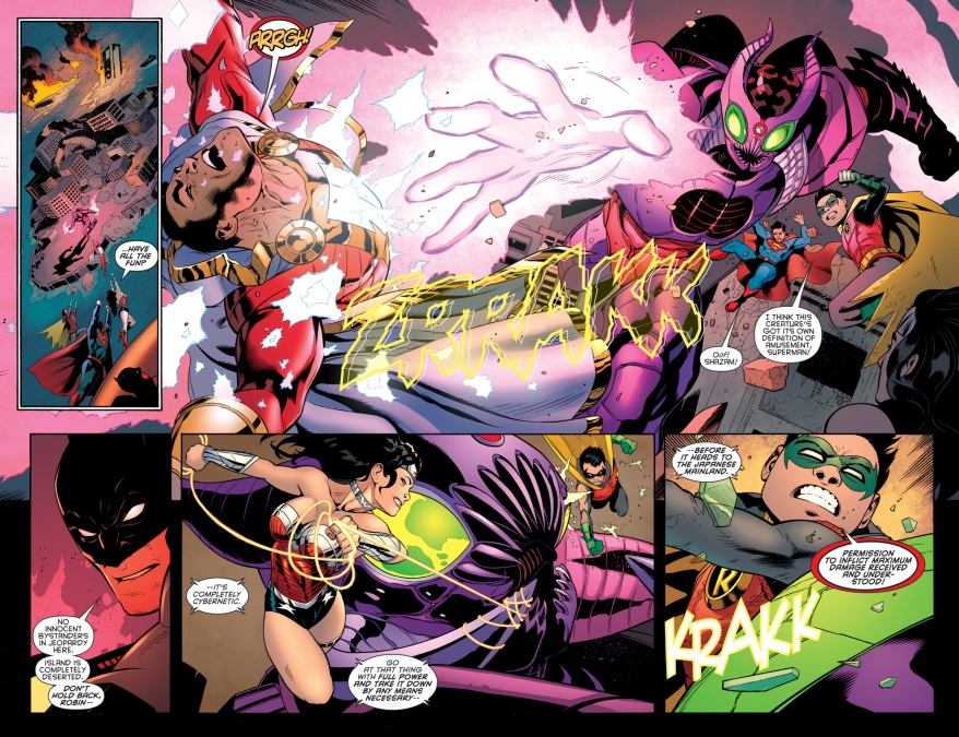 justice league and robin vs giant robot