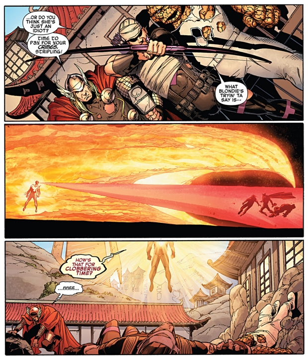 phoenix five cyclops takes out hawkeye, thor and the thing