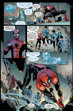 superior spider-man takes charge of securty guards
