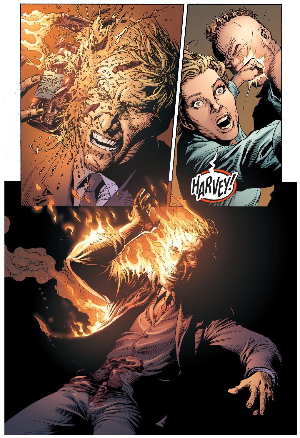 Harvey Dent New Earth: Harvey Dent's Face Is Burned Off (Earth 1)