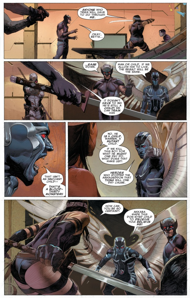 x-force argue on killing young apocalypse