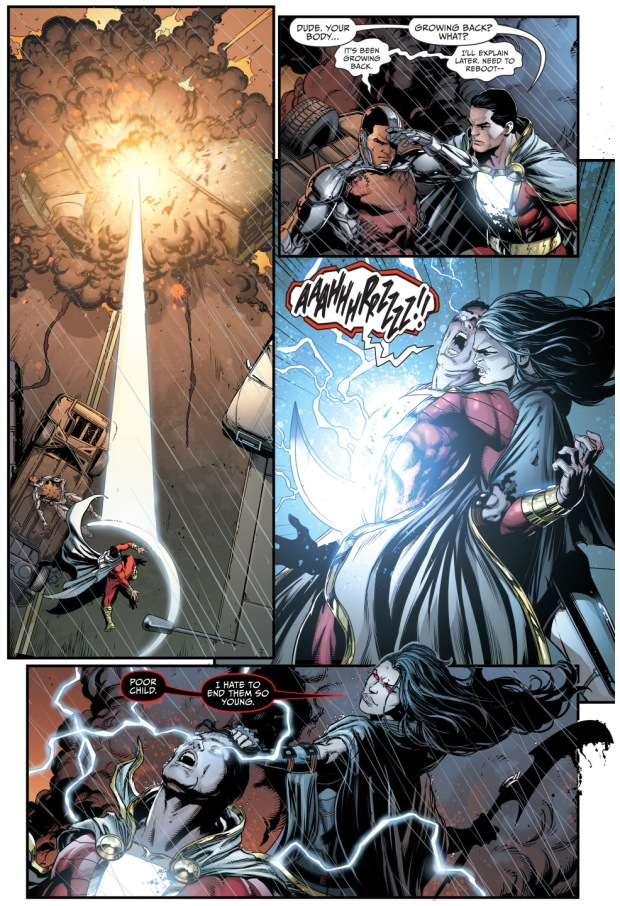 grail takes out cyborg and shazam