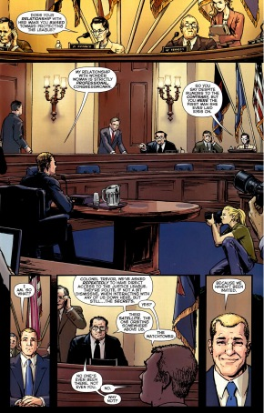 steve trevor defends the justice league from congress