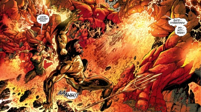 aquaman and mera vs volcanic golems