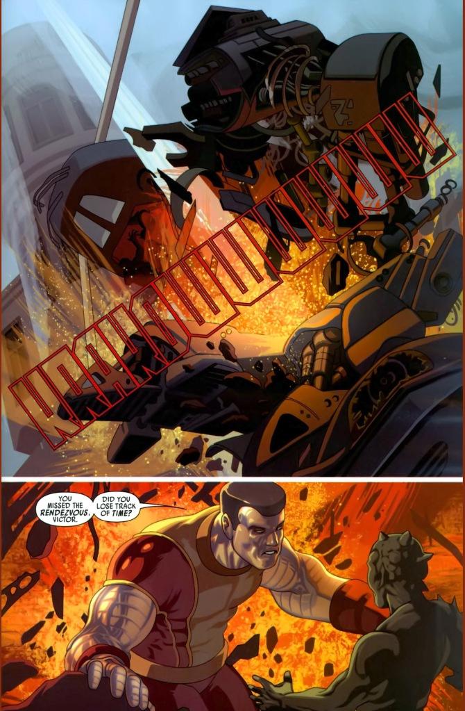 colossus takes down a skrull tank