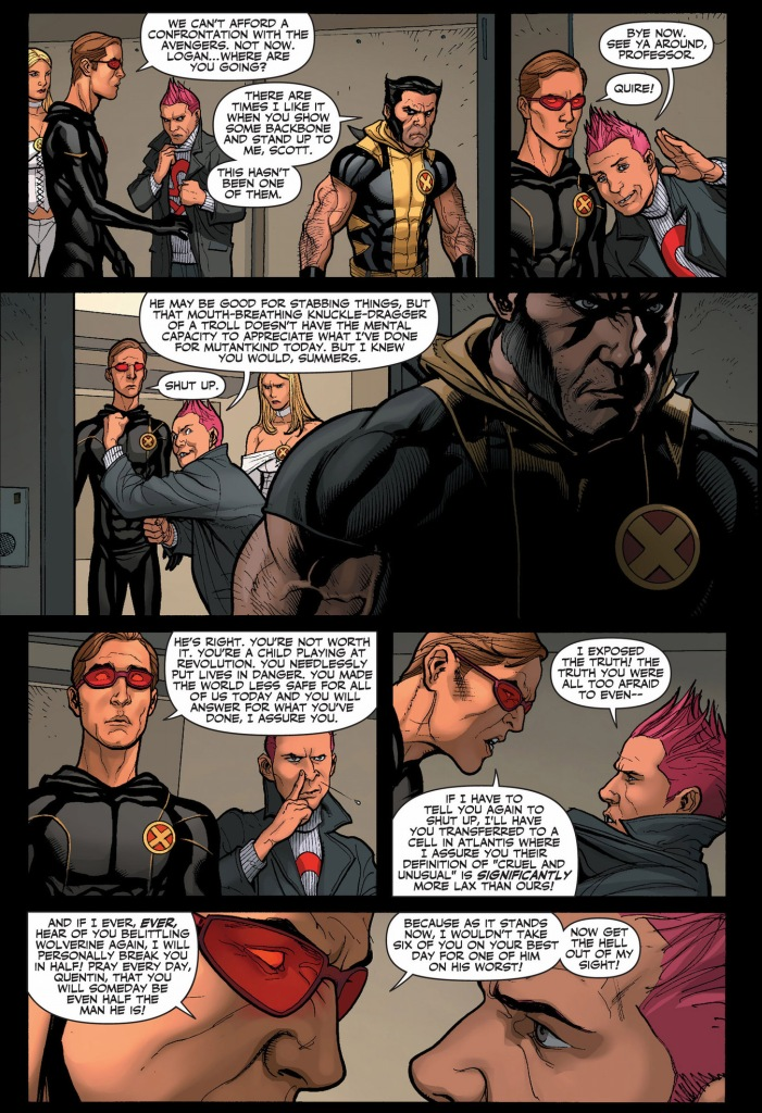 cyclops defends wolverine from quentin quire