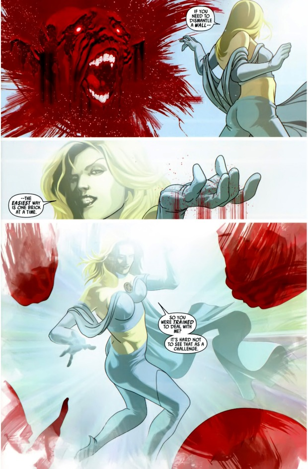 emma frost takes down the skrull ps-blockade