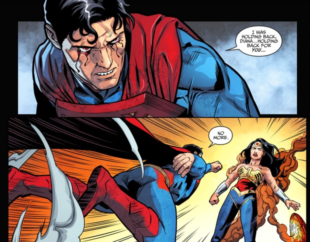 superman fights wonder woman with one hand