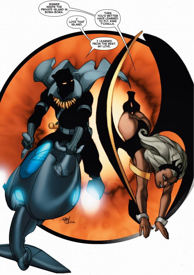 black panther and storm race each other