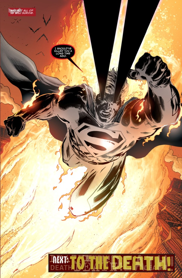 superman falls into an apokolips fire pit