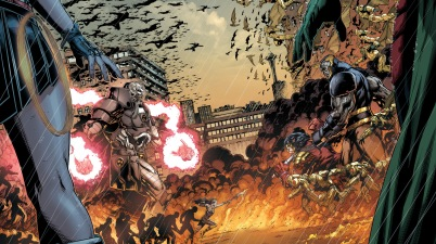 the anti monitor faces off with darkseid