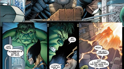 the hulk and wolverine fight over cake