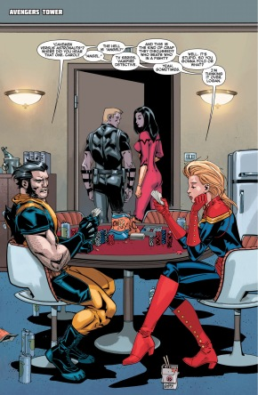 wolverine and captain marvel having a debate