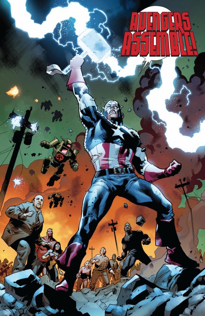 captain america picks up mjolnir (fear itself)