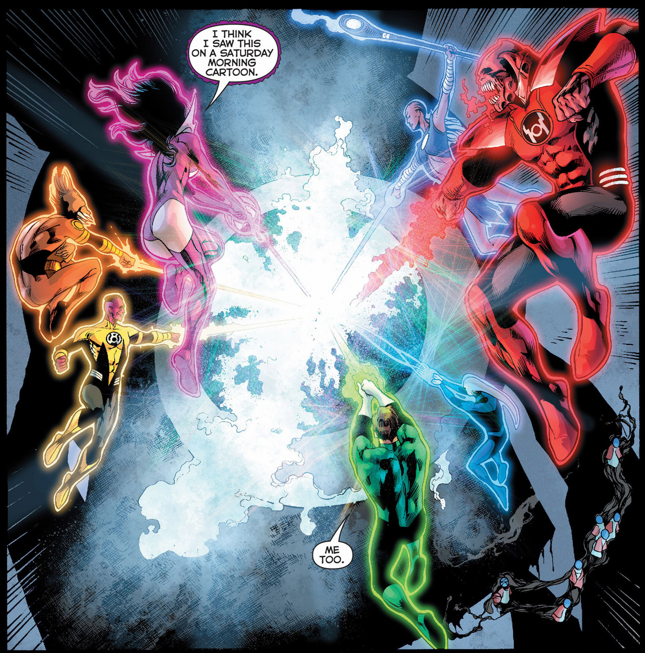The 7 Lantern Corps Attacks The Black Battery | Comicnewbies