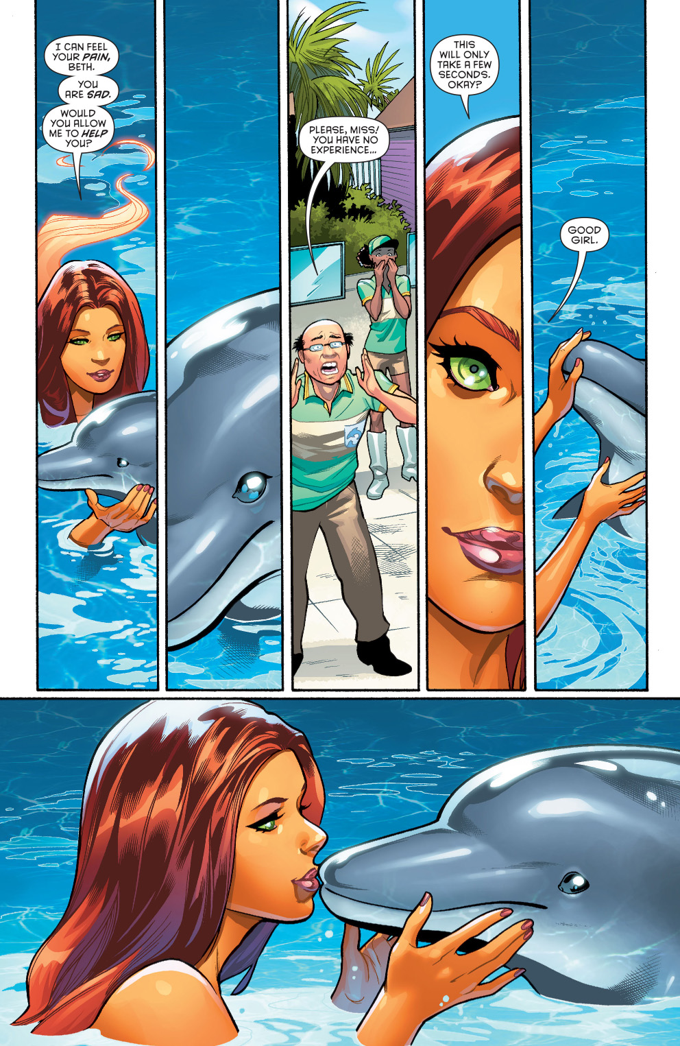 Starfire helps out a dolphin comicnewbies