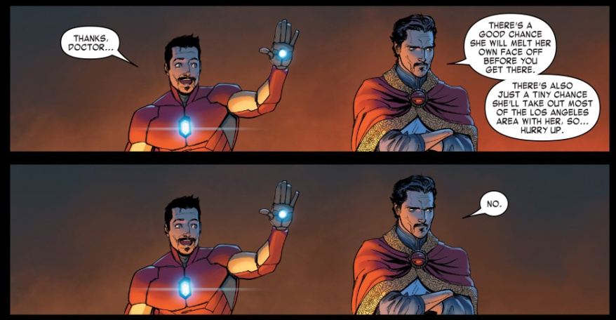 iron man and doctor strange high fives