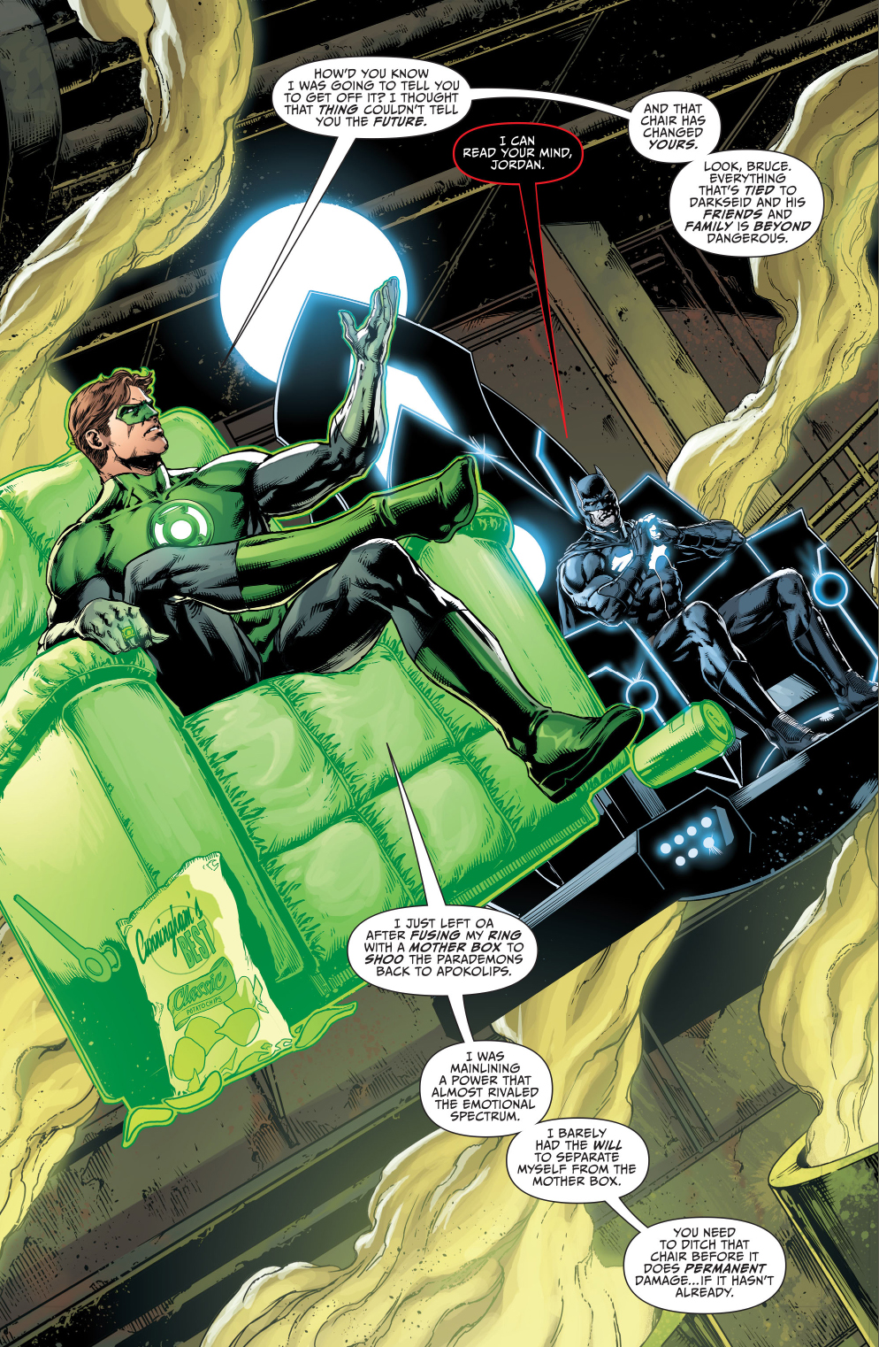 green lantern chilling with batgod & mobius chair | Comicnewbies