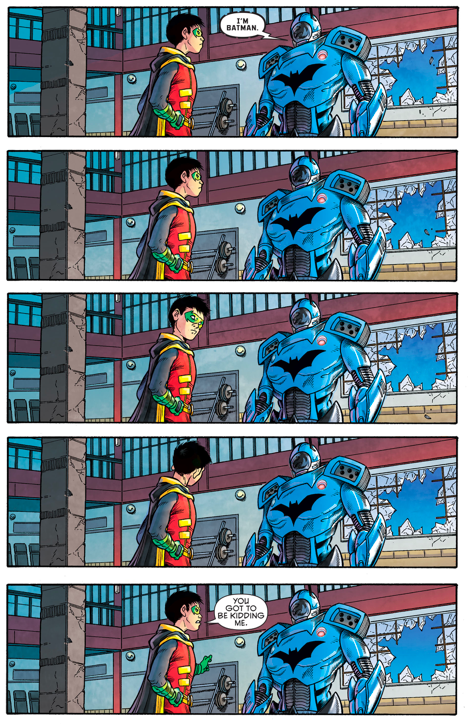 Robin (Damian Wayne) Meets Batman (Jim Gordon)