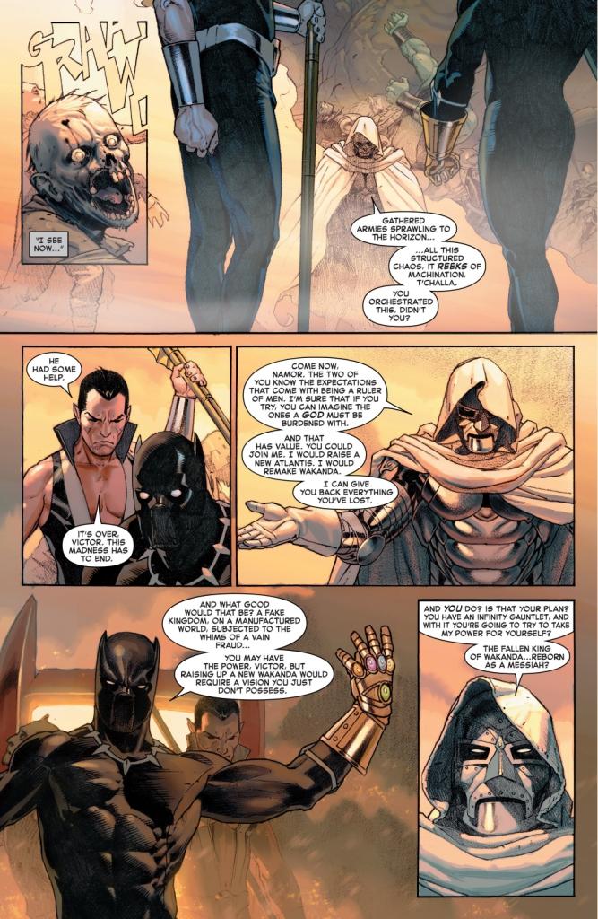 black panther and namor vs doctor doom (secret wars)