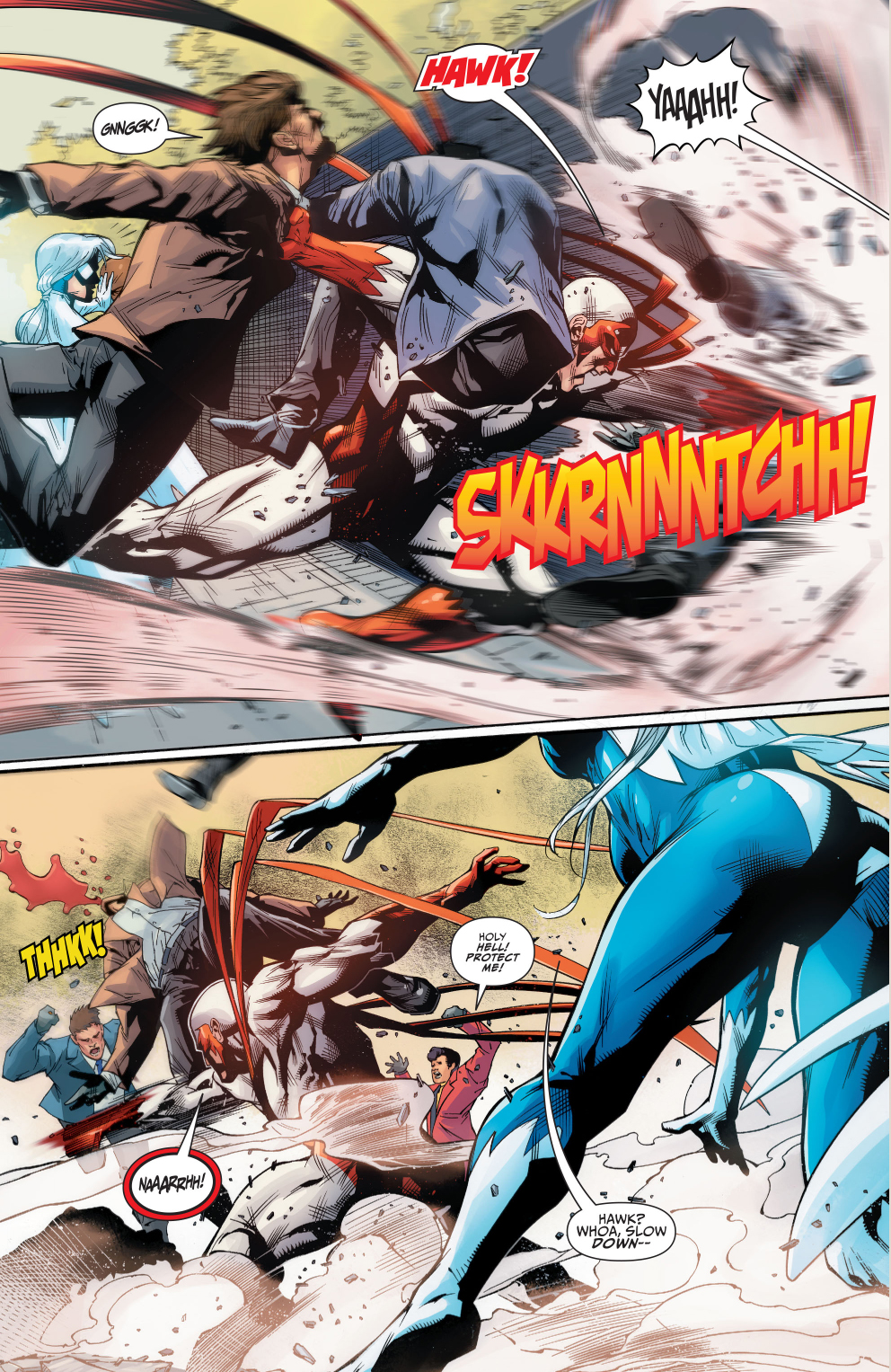 hawk and dove beating up on gangsters comicnewbies