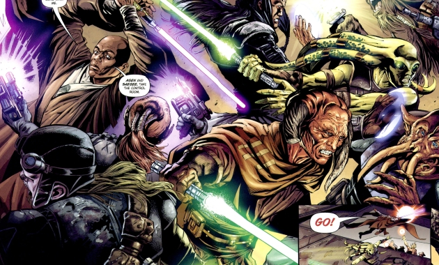 mace windu, kit fisto, agen kolar and saesee tiin vs bounty hunters