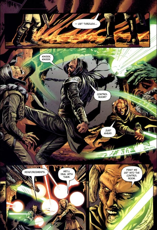 mace windu, kit fisto, agen kolar and saesee tiin vs bounty hunters