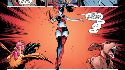 harley quinn with a red:black power ring
