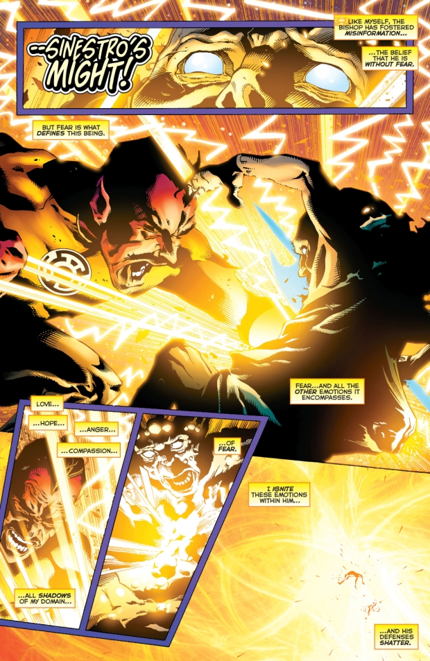 sinestro defeats the pale bishop